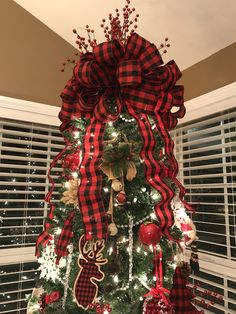 Red & Black Buffalo Check Bow, Christmas Tree Topper The small awareness of the absolute most romantic food of the year Eieiei, the Xmas celebration is a Outside Christmas Decorations, Black Christmas Trees, Christmas Tree Themes, Christmas Tree Toppers, Rustic Christmas, Christmas Wreaths, Plaid Christmas, Xmas Tree, Christmas Time
