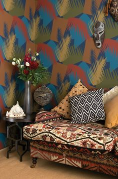 Deco Palm Wallpaper From The Geometric Ii Wallpaper Collection From Cole Son With A Palm Motif Printed In Russet Blue Brown And Green