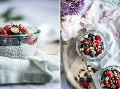 snídaně a brunch Chia Puding, A Food, Good Food, Kitchenette, Granola, Oatmeal, Smoothie, Breakfast, Sweet