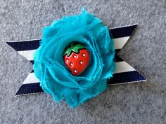 Turquoise Chiffon Flower with Nautical Ribbon and by jolliebabie, $8.50