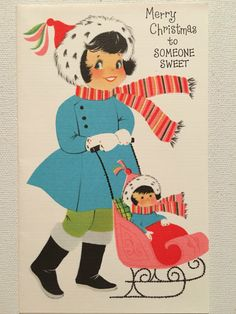 A personal favorite from my Etsy shop https://www.etsy.com/listing/473675267/vintage-christmas-card-pink-unused-nos
