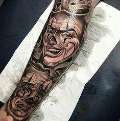 Chicanas Tattoo, Clown Tattoo, Forarm Tattoos, Leg Tattoo Men, Leg Tattoos, Body Art Tattoos, Tattoos For Guys, Gangsta Tattoos, Badass Tattoos