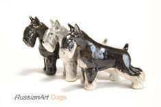 Schnauzer black, gray dog porcelain figurine handmade statuette by RussianArtDogs on Etsy