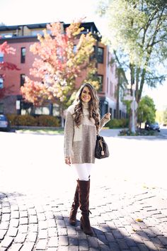 "French Connection sweater // white pants // over-the-knee boots hoop earrings // MAC lipstick in ""creme cup"" Happy ..."