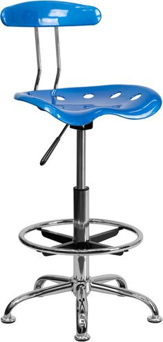 Flash Furniture Vibrant Bright Blue and Chrome Drafting Stool with Tractor Seat LF-215-BRIGHTBLUE-GG
