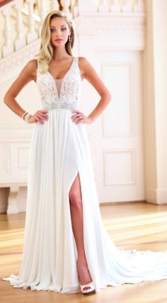 Plunging V-neckline with sheer beaded trim Sheath Wedding Gown, Wedding Gowns, A Line Bridal Gowns, Wedding Bells, Bodice, Chiffon, Formal Dresses, Lace, Fashion