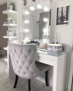 Vanity room design ideas 20 - home decor update Vanity Room, Vanity Mirrors, Mirror Desk, Diy Mirror, Lighted Mirror, Vanity Chairs, Diy Vanity Mirror With Lights, Vanity Lighting, Vanity Set