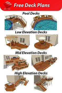 Our free deck plans have everything you need to feel confident when it's time to build. Including detailed drawings, cost estimates, and material lists. Browse our gallery, or choose your future dream deck here: plans.decksgo.com Free Deck Plans, Pool Deck Plans, Detailed Drawings, Outdoor Landscaping, Confident, How To Plan, Future, Gallery, Future Tense