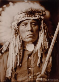 Curley - Apsaroke, Native American of the Crow tribe, photographed by Edward Curtis in 1905. Apsaroke man, half-length portrait, wearing headdress, facing front.