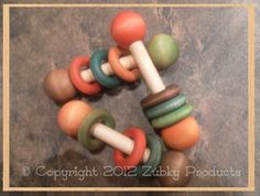 Rainbow Baby Wooden Baby Rattle - Natural Ecofriendly Wood Baby Gift