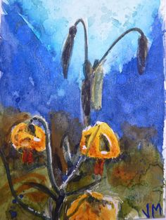 ACEO Card Original artwork in Watercolor Western Lily Watercolor Painting ACEO  #Realism
