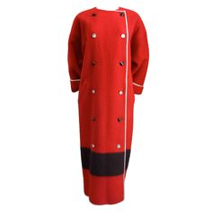GEOFFREY BEENE red wool blanket coat with faceted buttons | From a collection of rare vintage coats and outerwear at https://www.1stdibs.com/fashion/clothing/coats-outerwear/