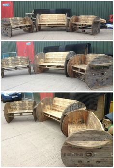 Pallet & Cable Drum Benches Beautiful complete outdoor set from pallets. Here are the comments … Pallet & Cable Drum Benches Read Pallet Crafts, Diy Pallet Projects, Pallet Ideas, Wood Projects, Woodworking Projects, Woodworking Plans, 1001 Pallets, Recycled Pallets, Wooden Pallets