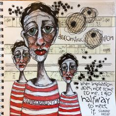 Deb Weiers - More Jailbirds Abstract Faces, Abstract Portrait, Art Journal Pages, Art Pages, Art Journals, Best Sketchbook, Ap Studio Art, Truck Art, Sketchbook Inspiration