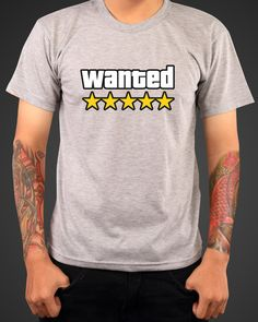 GTA Wanted Tshirt Gamer Inspired swag Tshirt tee by MADLABSGEAR, $18.79 Dc Clothing, Male T Shirt, Video Game T Shirts, Marvel Clothes, Geek Fashion, Mens Tees, Shirts For Girls, Cool T Shirts, Printed Shirts