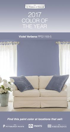 "2017 Paint Color of the Year, Violet Verbena! Violet Verbena is a gray-purple hue that idealizes the popular bohemian, ""gypset"" lifestyle. This nuanced update on a classic shade adds depth, luxury & pampering to every space, making it the perfect backdrop for consumers looking to blend the masculine, the feminine, the mystic & the modern."