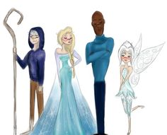 The Just-ice League. I'm seeing this as Frozone's Jack's mentor, Elsa's Jack's girlfriends, & Periwinkle is kinda like Jack's sidekick, like Tinkerbell is to Peter Pan.