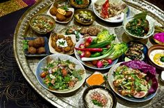 Moroccan mezze. A mezze is a selection of small dishes served in the Mediterranean, Middle East and Balkans as breakfast, lunch or even dinner, with or without drinks. #feast