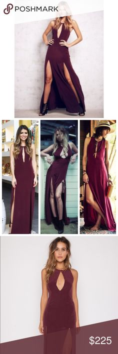 Stone Cold Fox Owen gown The SCF Owen gown is perfect and flattering for your holiday parties! It features two thigh-high slits and key-hole cut out in front. Size 3 which is a M/L. Gorgeous merlot color and can be styled so many different ways!  Self 100% rayon. Lining 100% polyester. Side zip with single front button Stone Cold Fox Dresses Maxi