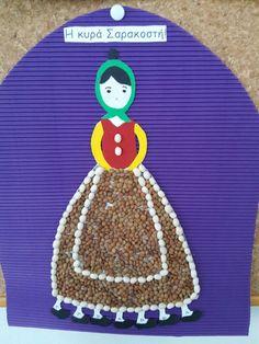 Κυρά -Σαρακοστη Arts And Crafts, Paper Crafts, Preschool Crafts, Diy For Kids, Crochet Hats, Easter, Christmas Ornaments, Holiday Decor, Bricolage