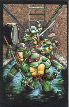 11 x 17 Teenage Mutant Ninja Turtles pic on comic board in pen and ink and colored with Copic Markers Original art and prints avaliable at www. Teenage Ninja Turtles, Ninja Turtles Art, Ninja Turtle Tattoos, Dope Cartoons, Arte Dc Comics, Ninja Party, Grafiti, Tmnt, Anime