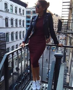 Dark burgundy bodycon dress with a black leather jacket, paired with the Adidas classic kicks. Womens shoes ftw.