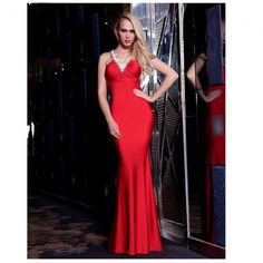 Red prom dress long nails