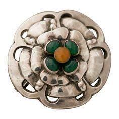 1stdibs | GEORG JENSEN Brooch With Amber And Chrysophrase No. 9