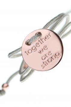 armband together we are strong textil grau rose vergoldet charm rund