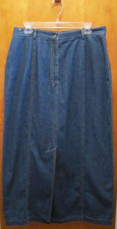 Laura Ashley Denim Jean Boot Skirt Long Modest Womens Size UK 18 EUR 44 US 14 #LauraAshley #StraightPencil #freeshipping