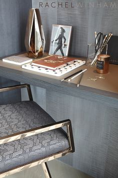 Metal meets patterned upholstery. Beauty!