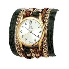 Army Leather and Chain Wrap Watch
