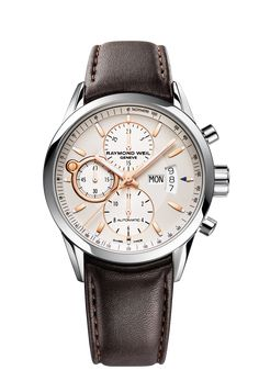Freelancer Mens Watch - Freelancer Automatic chronograph Steel on leather strap rose gold indexes and hands RAYMOND WEIL Genève Luxury Watches Amazing Watches, Cool Watches, Watches For Men, Unique Watches, Brown Leather Strap Watch, Black Leather, Swiss Luxury Watches, Raymond Weil, Fine Watches