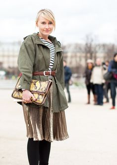 Belted Military Parka, love how it's styled over the pleated metallic skirt, so chic!