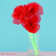 Red roses can be expensive this time of the year, why not make a bouquet out of tissue paper ones