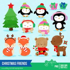 CHRISTMAS FRIENDS Navidad Clipart Pinguinos Clipart por grafos