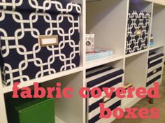 cover banker's boxes with fabric for storage!!