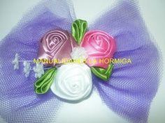 flor kanzashi pequeña para decorar centro de mops- video 128 Manualidades la Hormiga - YouTube