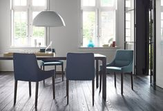 Long Island Dining Chair Design: N Nasrallah & C Horner 2014 Dimensions: W55 x H84 x D 55 cm Elegant chair in choice of fabrics and hides. Legs available in square- profile natural or anthracite stained beech or round metal in chrome or black