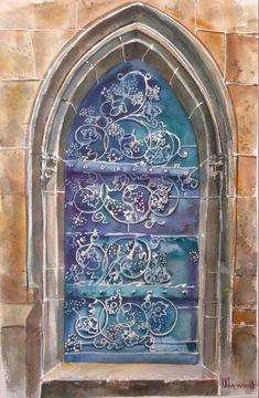 """Old doors"" Watercolour,paper Arches Size 38*56cm"