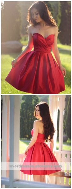 This dress could be custom made, there are no extra cost to do custom size and color, Sweetheart Simple Pleated Red Strapless Satin Party Dresses Short Homecoming Dresses Homecoming Dresses Under 100, Short Red Prom Dresses, Best Formal Dresses, Dresses Elegant, Cheap Dresses, Sexy Dresses, Party Dresses, Short Prom, Fashion Dresses