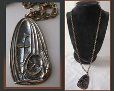 Mary and Baby Jesus,Mother and Child Mid Century Artist Pendant On Long Chain,Hungary,Vintage Jewelry,Unisex