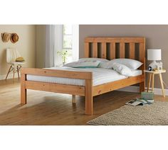 Buy Argos Home Chile Small Double Bed Frame - Oak Stain at Argos. Thousands of products for same day delivery or fast store collection. Small Double Bed Frames, Solid Wood Bed Frame, Wooden King Size Bed, King Size Bed Frame, Bed Frames Uk, Bohemian Bedroom Decor, Furniture Care, Bedroom Furniture, Bed Duvet Covers
