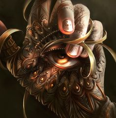 illustration digital-painting painting hand eye peacock jewel nails fantasy tattoo photoshop