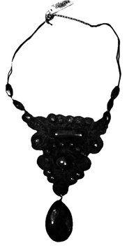 Mixit Jet Black Bib Event Necklace Adjustable 16
