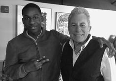 Leon Bridges and Joe Ely backstage in the Green Room