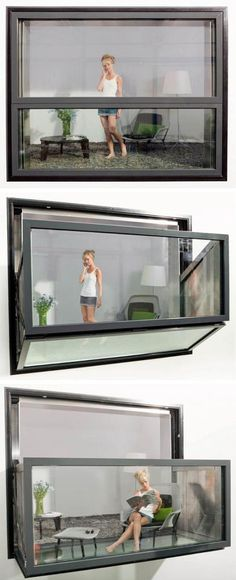 Instant balcony, the  window and glass unit unfolds like those in campers to become an open balcony. At cristinaporresinteriors.com love the idea.
