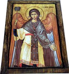 ARCHANGEL GABRIEL - Orthodox Byzantine icon on wood handmade (22.5 cm x 17 cm)