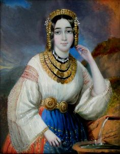 Marițica Bibescu - Princess-consort of Wallachia Dress Painting, Western Outfits, Portrait Art, Traditional Dresses, Romania, Literature, Artsy, Princess Zelda, Culture