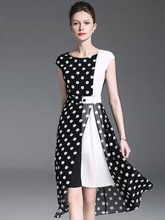 Polka Dot O-Neck Sleeveless Slit Skater Dress – DressSure Maxi Dress With Sleeves, Silk Dress, Dot Dress, Casual Dresses, Fashion Dresses, Women's Casual, Dress Outfits, Ladies Dress Design, Polyvore Outfits
